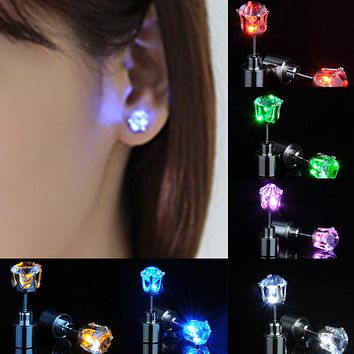 Womens  LED Earring Light Up Crown Glowing Crystal Stainless Ear Studs