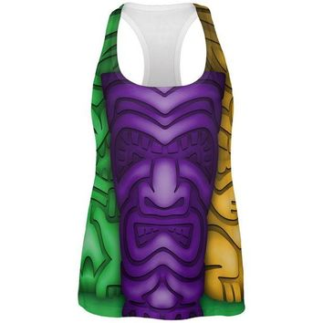 DCCKU3R Mardi Gras Tiki Glass Party All Over Womens Work Out Tank Top