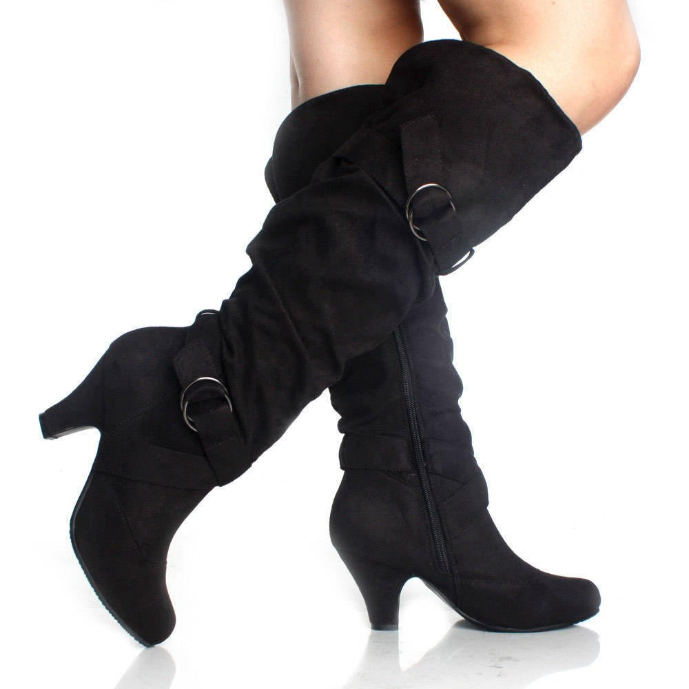 Black Knee High Boots Slouch Tall Buckle Faux Suede Dress Womens Heels | 46763