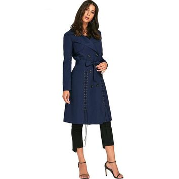 Tie Belt Lace Up Trench Coats New Fashion Casual Solid Color Long Autumn Outerwear Winter Coat Women Trench Coat
