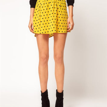 Love Heart Print Irregular Hem Elastic Waist Pleated Mini Skirt