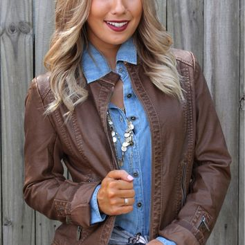 Faux Leather Moto Jacket Brown