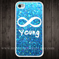 iphone 4 case, iPhone 4s Case, forever young and sparkle Painting white hard case for iphone 4, iphone case 4s,
