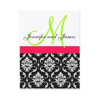 Pink, Green, Black Damask Wedding Invitation from Zazzle.com