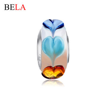 Fascinating Silver Plated Lampwork Heart Murano Glass Beads Fit Original Bracelet Necklace Pendant Authentic Accessories