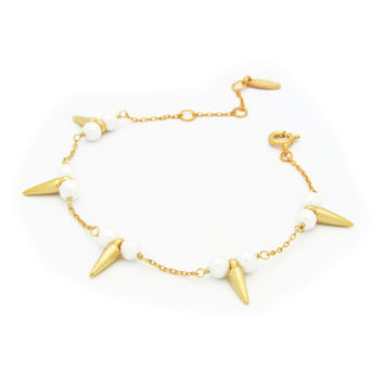 "Bullets & Pearls Gold Plated Sterling Silver Bracelet, 6"" + 2"""