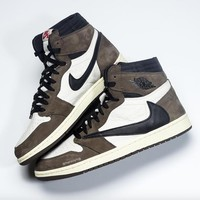 "Travis Scott x Air Jordan Retro 1 High OG TS SP ""Cactus Jack"" ""Mocha"" - Best Deal Online"