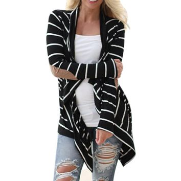 Women Autumn Jackets 2016 Fashion Black white Casual Striped Cardigans Long Sleeve Patchwork Outwear  Jaqueta Feminina