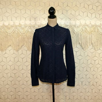 Navy Blue Shirt Eyelet Blouse Fitted Top Long Sleeve Button Up See Through Top Blue Blouse Blue Top Cotton Ann Taylor Small Womens Clothing