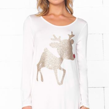 Christmas Cutie White Gold Glitter Red Nose Reindeer Long Sleeve Scoop Neck Tunic Top Mini Dress