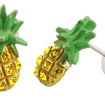 Green with Yellow Iced Out Pineapple Stud Earrings
