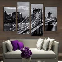 Fashion Home Frameless Wall Decorations 4pcs / Set Modern Mural New York Bridge Canvas Print Artist Canvas Decoration