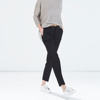 Pinstripe cropped trousers with belt