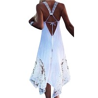 Backless Dress Women Club Party Sundress White Lace Elegant Lady Long Dress Summer Beach Boho Dress Plus Size 5XL
