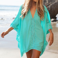 Blue Casual V-neck Half Sleeve Hollow-out Cotton Dress