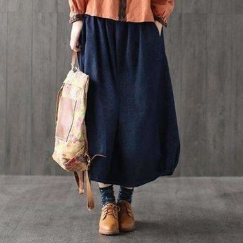 ICIKON3 Casual Bohemian Hippie Boho Harajuku Faldas Vaqueras Elastic Waist Loose Denim Blue Cotton Jeans Pocket Women Spring Long Skirt