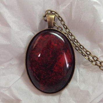Dark Red, Ruby Red and Black Hand painted glass pendant  Hand painted jewelry Hand painted necklace Alcohol ink pendant Large Oval Necklace