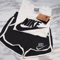shosouvenir Nike Women Fashion Print Short sleeve Top Shorts Pants Sweatpants Set Two-Piece Sportswear