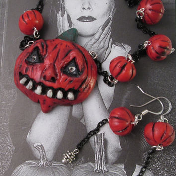 PUMPKIN NECKLACE EARRINGS  Jack o Lantern Classic Halloween