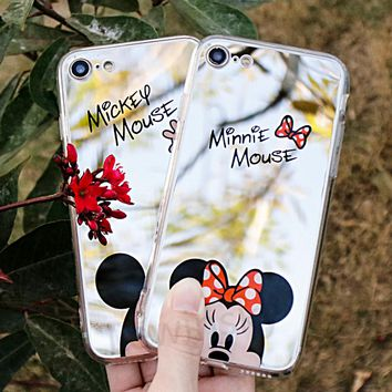 Mirror Cartoon Mickey Minnie Cases For iPhone 7 6S 5S Case Plating Soft Gel Phone Cases For iPhone 5 6 7 8 X Coque Capa Fundas