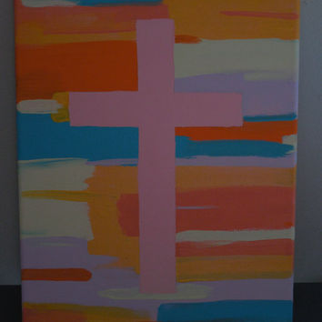 "Pink Cross Colorful Modern Background 10""x8""x5/8"" - Wall Art"