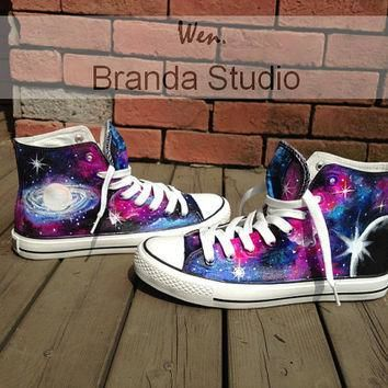 Galaxy Converse,Hand Paint On Custom Converse Only 89Usd, Studio Hand Painted Shoes Hi