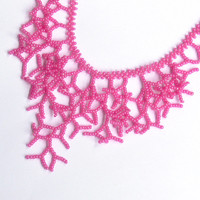 Hot Pink Necklace. Wedding Necklace. Bridal Necklace. Bridesmaid Necklace. Beadwork.
