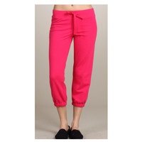 Cute Yoga Cropped Capri Dark Pink Sweat Pants