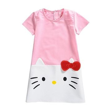 Summer Dresses for Girls Cotton Hello Kitty A-Line Dress Nightgown Costume for Toddlers Children Clothing Robe Princesse Fille
