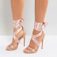New Look Satin Ankle Tie Heeled Sandals at asos.com