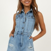 Beginning To End Denim Playsuit In Light Wash Produced By SHOWPO