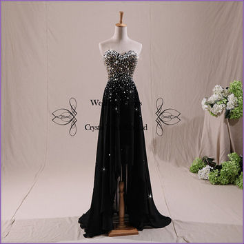 2014 A Line Prom Dress,Beaded Evening Dresses,Black Party Dress,Tulle Bridesmaid Dresses,Long Prom Dresses,Sweetheart Neck Homecoming Dress