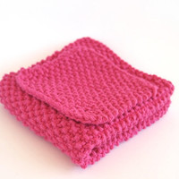 hand knit hot pink cotton washcloth and scrubber set