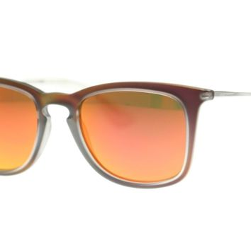 Ray Ban Rectangle Unisex Sunglasses RB4221 61676Q Shot Red Rubber 50mm Authentic
