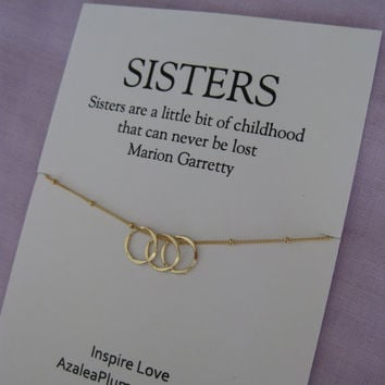 S I T E R Necklace GOLD Eternity Circle 30th Birthday Sisters Gift SISTERS Jewelry 40th
