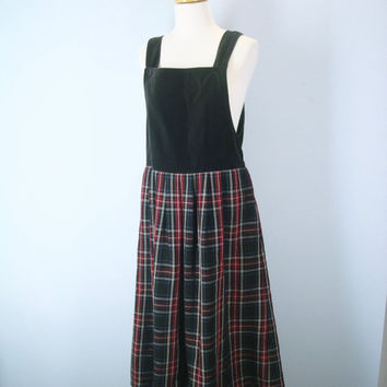 Vintage 80s Jumper, Velveteen Jumper Dress, Tartan Plaid Dress, Plaid Dress, Christmas Jumper Dress, Babydoll Tie Back Jumper, School Girl