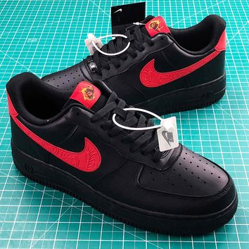 Nike Air Force 1 Low Black Red Sport Shoes Sale 5eb2058519
