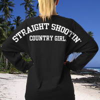 Juniors Country Girls™ Varsity Straight Shootin LS Spirit Tee