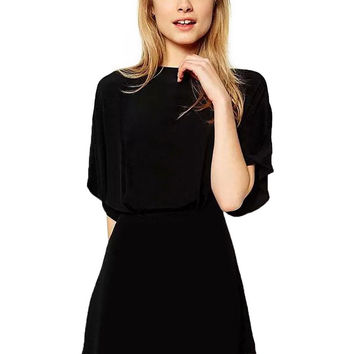 Black Loose Romper With High-Rise Waist