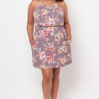 Plus Size Floral Knife Pleat Dress - Mauve