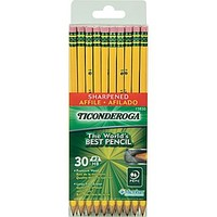 Ticonderoga Pre-sharpened Woodcase Pencil, HB Soft, No. 2 Lead, Yellow Barrel, 30 / Pack