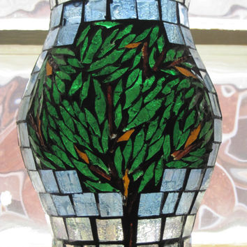Hand Made Glass Mosaic Hurricane Lamp or Candle Cover, Tree Motif