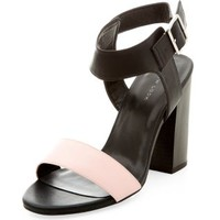 Pink Colour Block Ankle Strap Block Heels