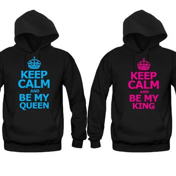 Keep calm She's My Queen - Keep Calm He's My King Unisex Couple Matching Hoodies