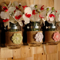 Burlap Double Love Mason Jars trio on recycled board for Spring and Summer wall decor