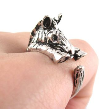 Zebra Shaped Animal Wrap Around Ring in Shiny Silver | US Sizes 4 to 9