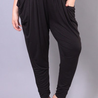 Plus Size Draped High Waist Jogger - Black