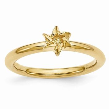 Gold Tone Sterling Silver Stackable 7mm Star of David Ring
