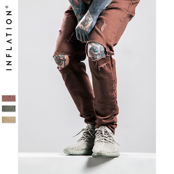 INFLATION Silm Jeans Fear Of God Men Destroyed Skinny Slim Fit Justin Bieber Vintage Ripped Pure Denim Jeans For Men