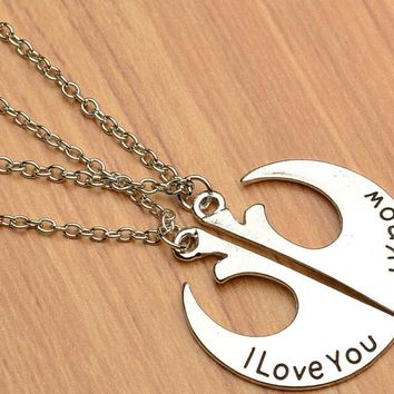 Women Star War I love you I know Charming Splice Pendant Necklace